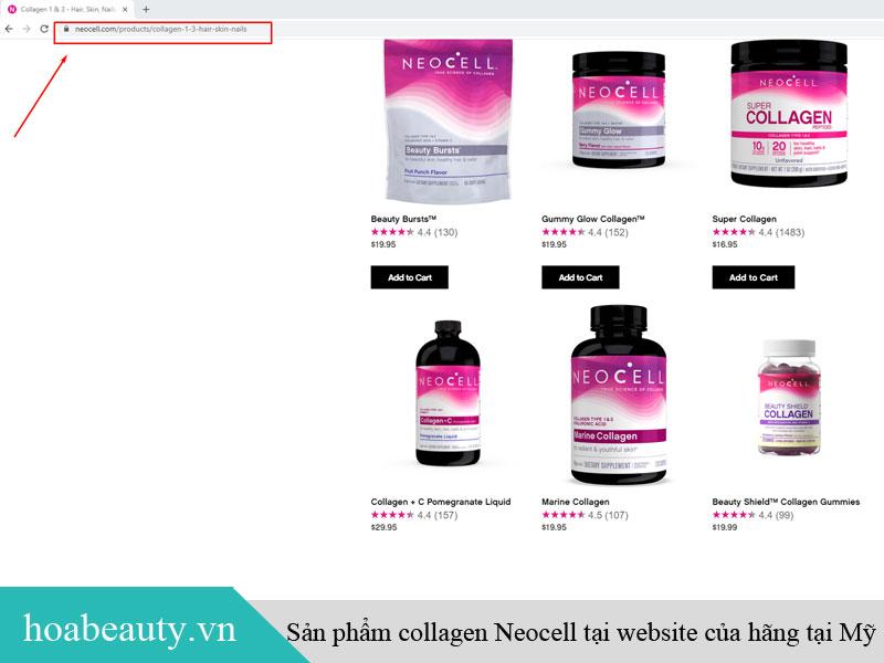 Collagen Neocell Super C+ bán trực tiếp trên website tại Mỹ