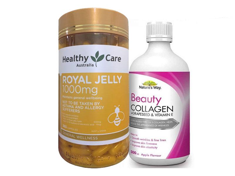 Combo sữa ong chúa royal relly và collagen nước natures way