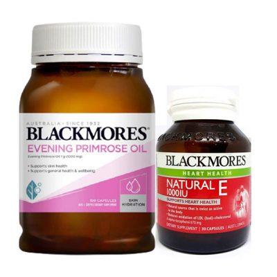 Combo cân bằng nội tiết tố ở nữ giới gồm tinh dầu hoa anh thảo blackmores và vitamin e hàng chính hãng úc
