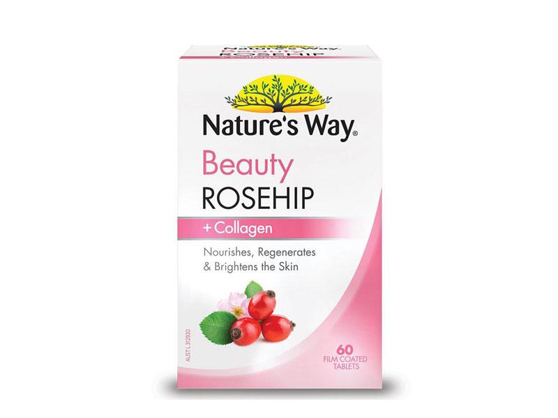Viên uống Collagen trắng da Nature's Way Beauty Rosehip Collagen 60 viên