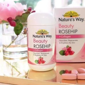Viên uống Collagen trắng da Nature's Way Beauty Rosehip Collagen 60 viên