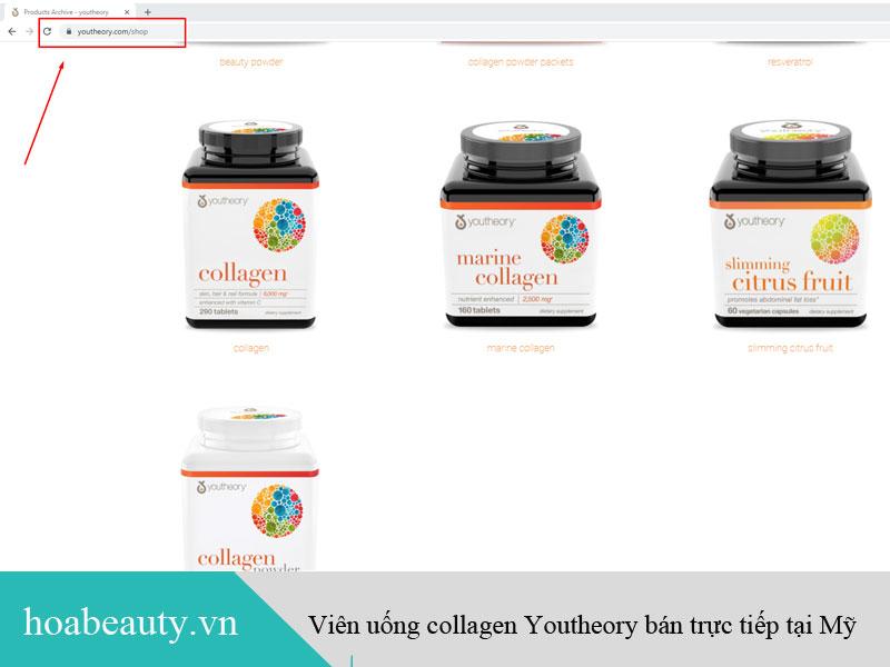 Viên uống collagen Youtheory bán trực tiếp trên website của hãng tại Mỹ