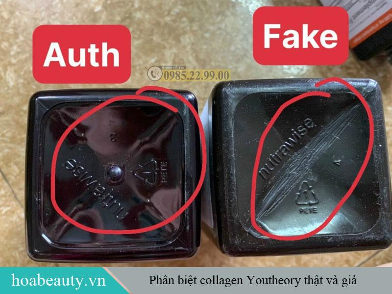 Sự khác nhau giữa đáy sản phẩm collagen Youtheory thật và giả