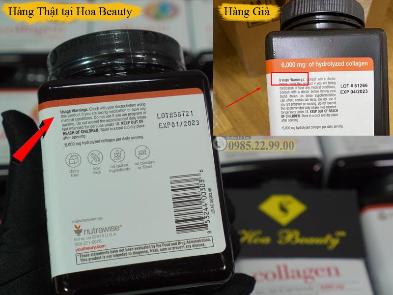 Cách phân biệt collagen Youtheory thật và giả dựa trên thông tin giấy in bên ngoài