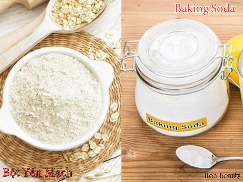 Làm sáng da bằng baking soda và bột yến mạch