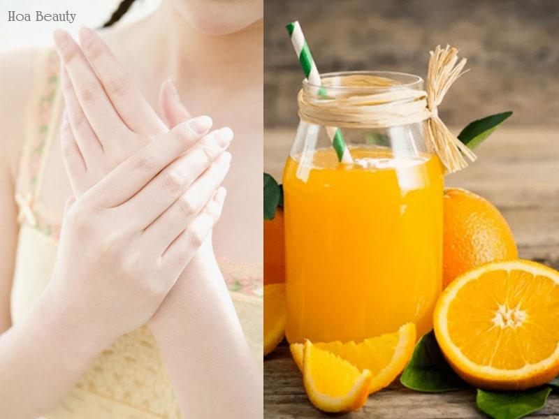 Sử dụng nước cốt cam tươi làm trắng da tay