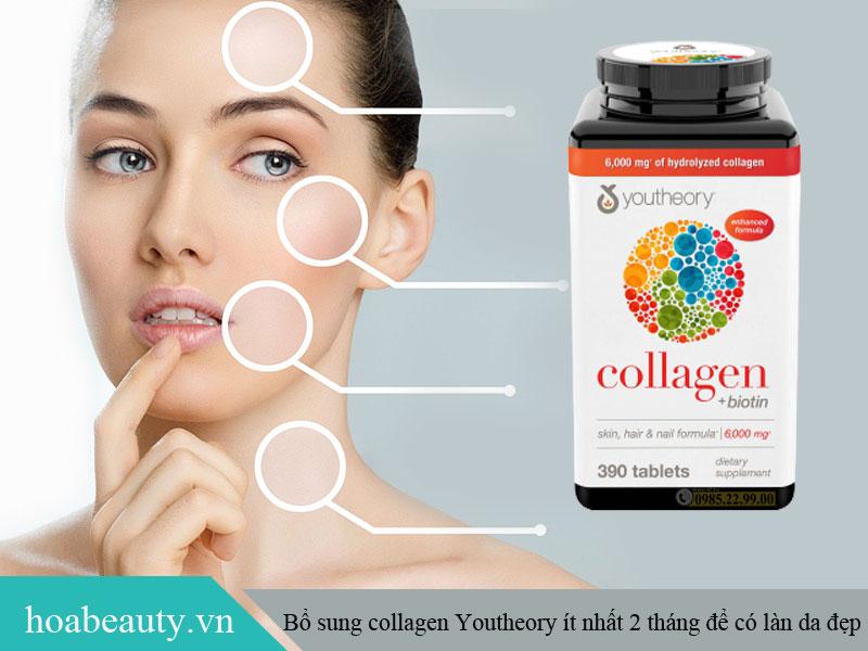 Nên sử dụng Collagen Youtheory Biotin đều đặn ít nhất 2 tháng để cảm nhận rõ hiệu quả