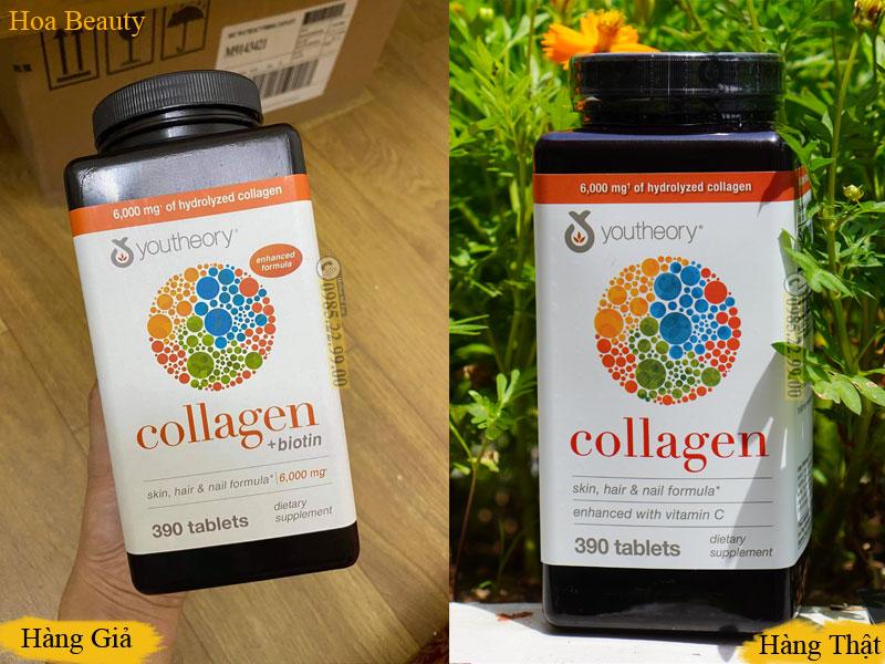 Phân biệt collagen Youtheory thật và giả qua hình dáng màu sắc của sản phẩm