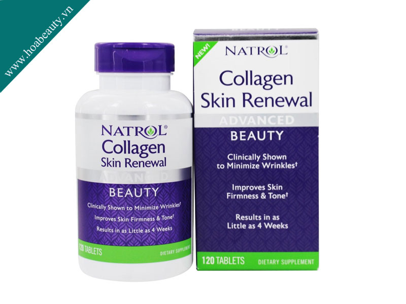 Natrol Collagen Skin Renewalchứa collagen peptide + vitamin C