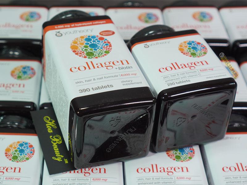 Viên uống Collagen Youtheory cung cấp cả 3 loại collagen type 1 2 & 3, cải thiện làn da, tóc, móng và xương khớp
