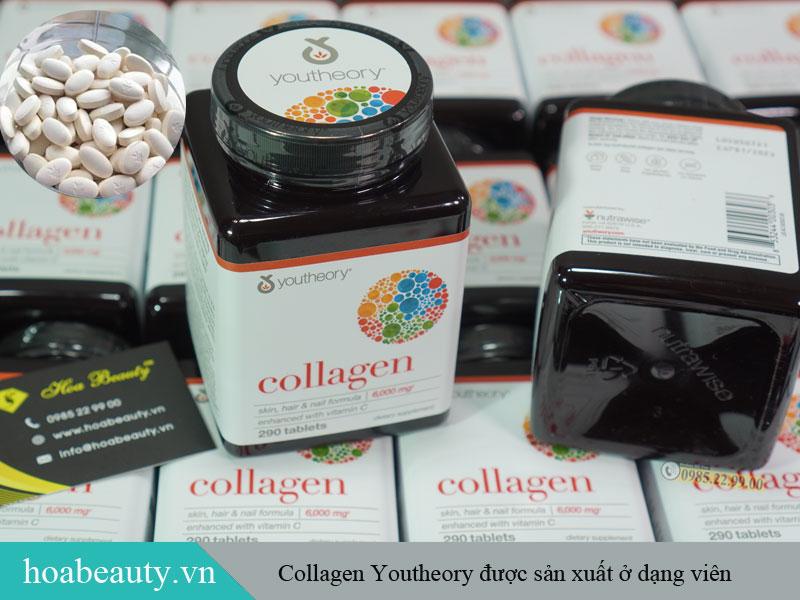 Collagen Youtheory 290 dạng viên dễ uống, dễ bảo quản.