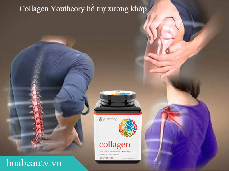 Collagen Youtheory giúp đẩy lùi lão hoá của da, cải thiện sự chắc khoẻ của hệ thống xương khớp và tóc, móng.