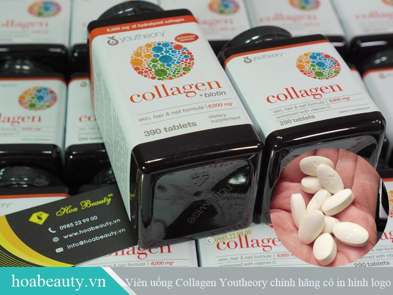 Viên uống collagen Youtheory chính hãng có in hình logo lên trên