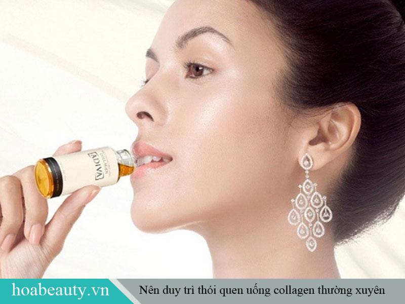 Nên uống collagen vào buổi tối và áp dụng đều đặn 2 - 3 tháng để đạt hiệu quả