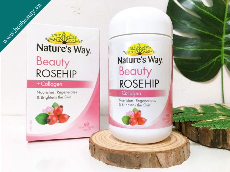 Viên uống trắng da Nature's Way Beauty Rosehip + Collagen chứa nhiều thành phần có nguồn gốc từ thiên nhiên.