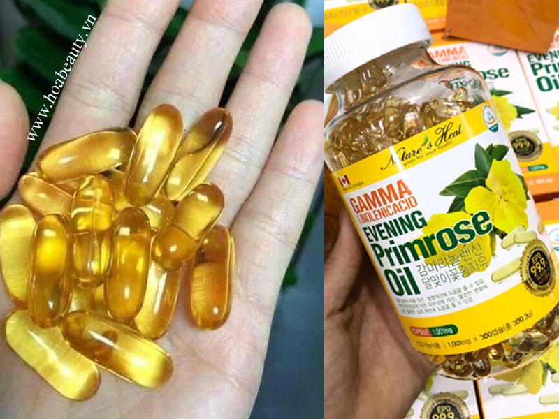 Tinh dầu hoa anh thảo Gamma Linolenic Acid Evening Primrose Oil có bổ sung thêm vitamin E mang đến công dụng nhanh hơn.