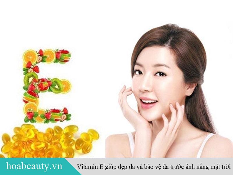 Vitamin E có công dụng làm đẹp da bảo vệ da trước tia cực tím của ánh nắng mặt trời