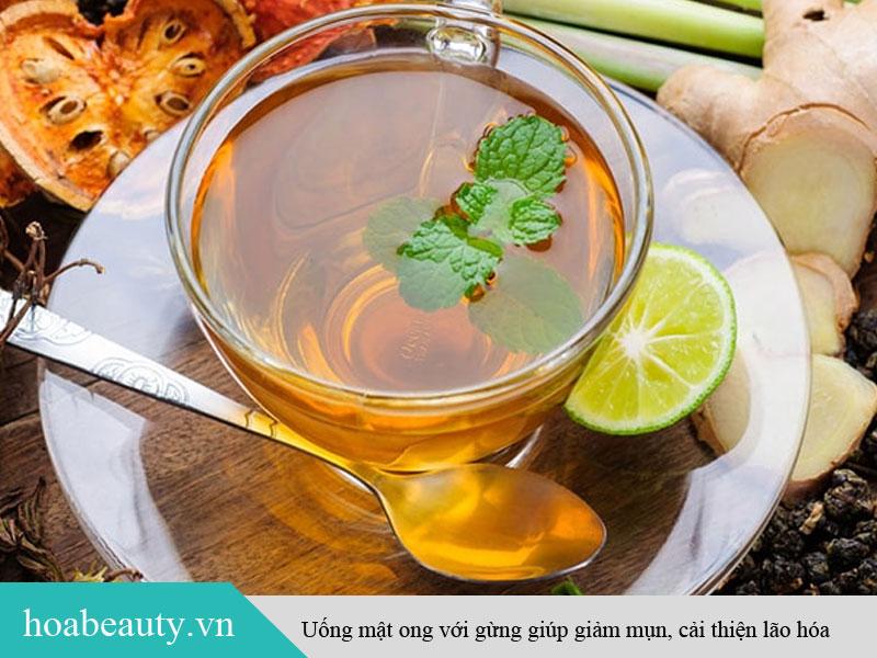 Uống mật ong với gừng giúp giảm mụn, cải thiện lão hóa
